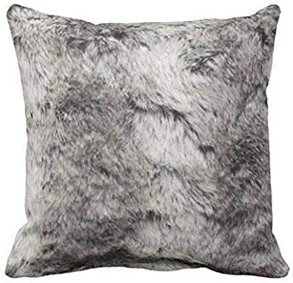 Amazon Com Egde4 Decor Pillows Faux Chinchilla Gray And White Fur Print Throw Pillow Case 18x18 Inch Home Kitchen