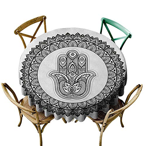 Wendell Joshua Pink Tablecloth 60 inch Hamsa,Ring Shapes with Floral Motifs Ancient Ethnic Culture Traditional Symbol Monochrome, Black White Indoor/Outdoor Spillproof Table Cloth