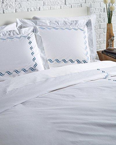 Westport Linens Scroll Percale Duvet Set, Blue, King ()