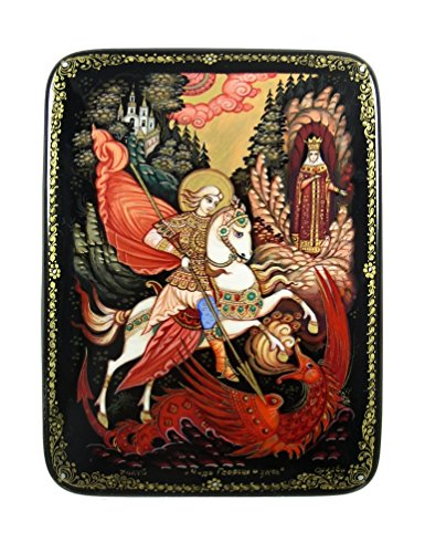 Kholui Russian Lacquer Box St. George Slaying the Dragon #4070