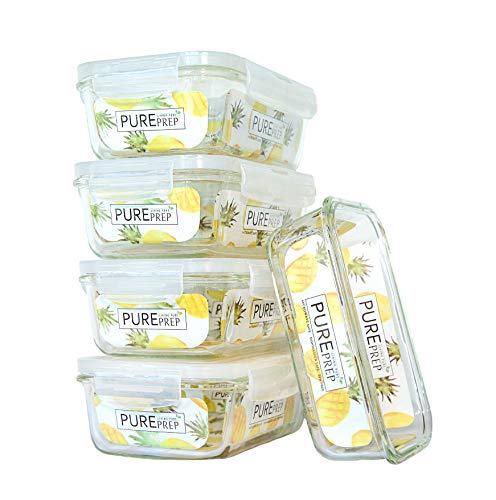 [5-Pack] Glass Meal Prep Container - BPA Free - Airtight Food Storage Containers - ECO Friendly - 29oz