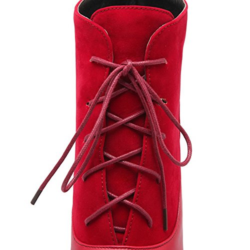 Pointed Heels Solid Low top Women's Toe Materials Red Blend Boots High Closed Allhqfashion Twp5gqw
