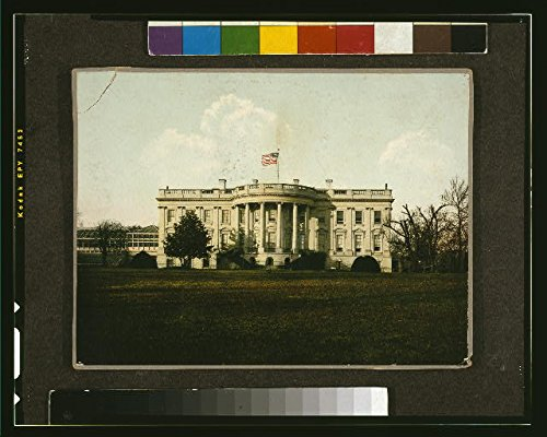 HistoricalFindings Photo: White House,Washington,DC,South Facade,Conservatory Wing,1898-1914,American Flag