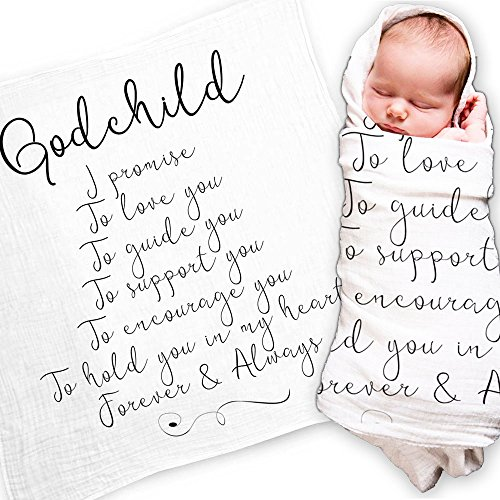 Godchild Gift Quote Baby Swaddle Blanket - Christening Gift Baptism Gift for Godson Goddaughter - Muslin Swaddle Baby Wrap with Scripture Quotes for Baby Shower Gift by Ocean Drop Designs by Ocean Drop Designs