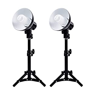 Fovitec - 2x Product Photography Fluorescent Lamp Lighting Kit - [CFL Bulbs][Lamps and Bulbs Included][Cast Iron Stands][Quick Set-Up]