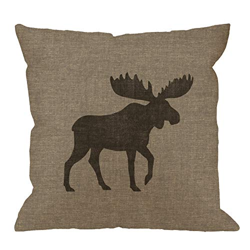 HGOD DESIGNS Animal Throw Pillow Cushion Cover,Rustic Moose Silhouette Burlap Cabin Cotton Linen Polyester Decorative Home Decor Sofa Couch Desk Chair Bedroom 18x18inch Square Throw Pillow Case,Gray ()