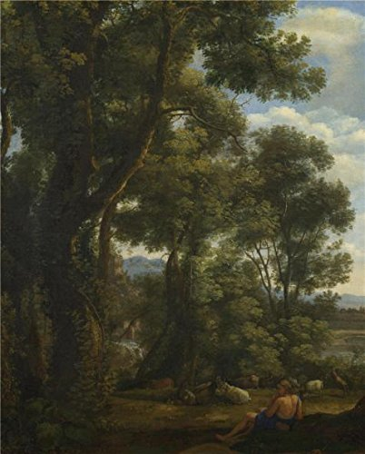 Oil Painting 'Claude - Landscape With A Goatherd And Goats,about 1636-7' Printing (Trim Less Electric Fireplace)
