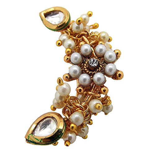 Biyu Maharashtrian Bridal Style Kundan Pearl CZ Gold Plated Piercing Nose Ring for Women by Biyu
