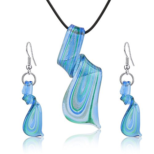 Bishun Jewelry Sets Screw-Type Murano Inspiration Mix Twisted Lampwork Glass necklace