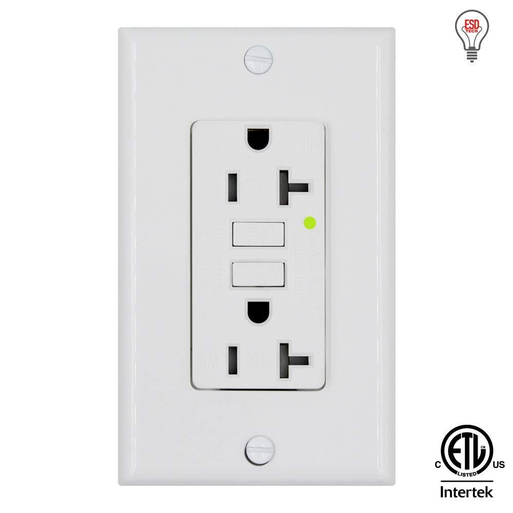ESD Tech GFCI Wall Outlet Receptacle – 20 Amp, 125 Volt Tamper Resistant & Weather Resistant Duplex with LED Indicator Light. White. ETL Listed. Wallplate & Screws Included (1 Pack)