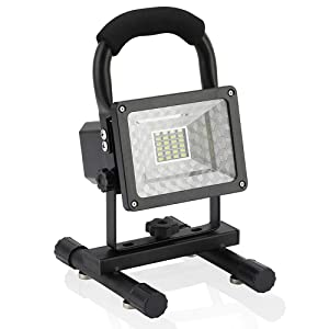 Vaincre Spotlights Work Lights with Upgrade Magnet Base - 15W 24LED Portable LED Work Light, Built-in Rechargeable Lithium Batteries with USB Ports to Charge Mobile Devices (Black)