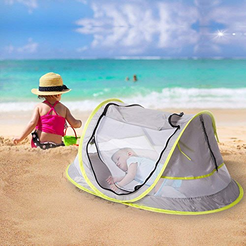Micoo Baby Travel Tent, Portable Beach Pop Up Tent, Large Baby Travel Bed,UPF 50+ Sun Travel Cribs Bed, Mosquito Net and Sunshade, Lightweight Outdoor Travel Baby Crib Bed for Infant and Babies by Micoo (Image #6)