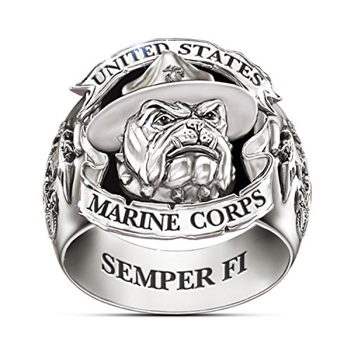 USMC Devil Dogs Stainless Steel And Black Onyx Ring: 9