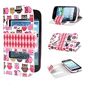 Leathlux Little Baby Owls View Window Design PU leather Flip Case Cover for Samsung Galaxy S Duos S7562