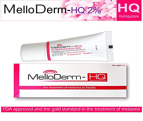 Melloderm-Hq 2% Once Daily at Night (Pack Size 0.25 Ounces) Active Ingredient Hydroquinone 2 Percent Cream FDA Approved for Treatment of Melasma