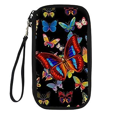 Amzbeauty Multi Passport Holder Butterfly Print Personalized Travel Wallet Case