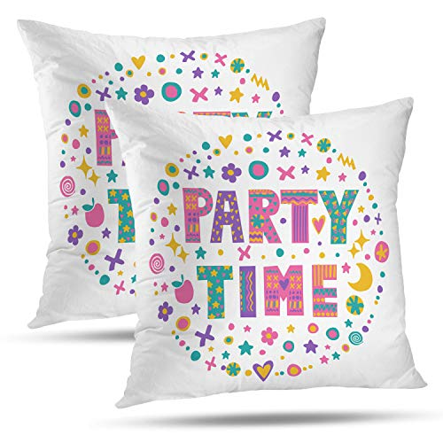 Batmerry Quote Pillow Cover 18x18 inch Set of 2, Kids Word Art Bright Cartoon White Quote Invitation Bags Throw Pillows Covers Sofa Cushion Cover Pillowcase Home Gift