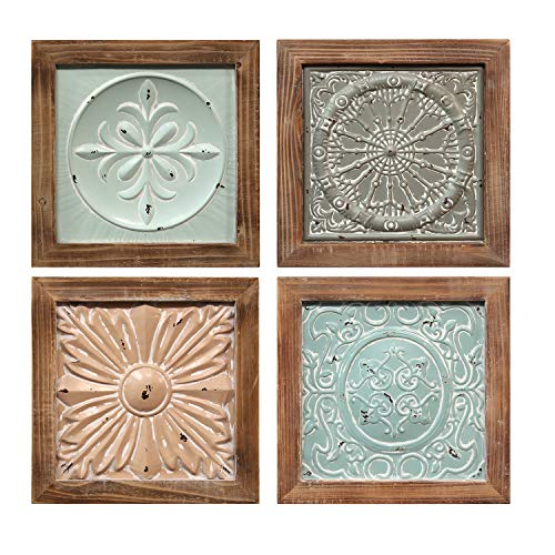 Stratton Home Décor Stratton Home Set of 4 Boho Tiles Decor Wall Décor, 12.00 W X 1.00 D X 12.00 H, Multi