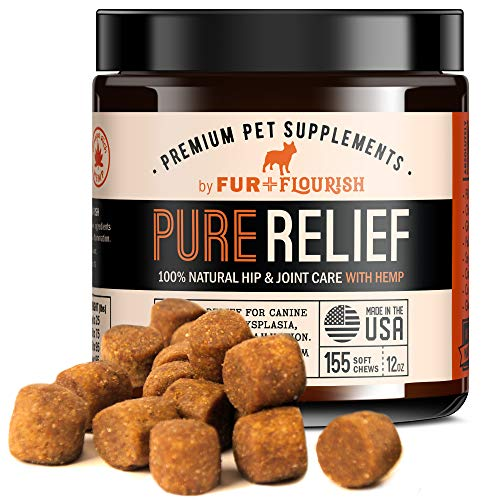 Fur and Flourish Hemp Oil Glucosamine & Turmeric Joint Supplement for Dogs, 155 Organic Soft Chew Treats - USA Made, PureRelief for Hip Displaysia Arthritis Pain & Inflammation