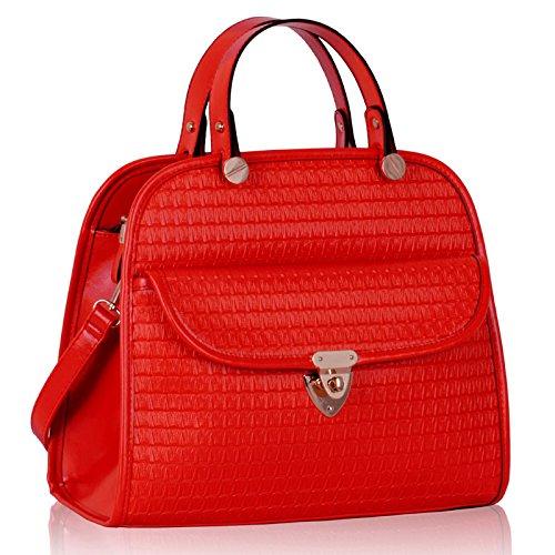 Womens Textured Front Pocket Satchel Handbag (34cm X 29cm)