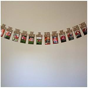 Pared de la foto del bebé, Ularma Mi primer año de bebé marco de recuerdo Regalos de cumpleaños para niños decoraciones 1-12 mes foto banner mensual pared de fotos 14X23cm (precio: 2,99€)