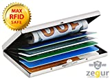 Zegur (TM) Stainless Steel Credit Card Holder Case with RFID Blocking Technology - Protection for Bank Debit ID Cards against RFID Scanning for Men & Women - Slim Metal 7 Slots UP to 8 Cards