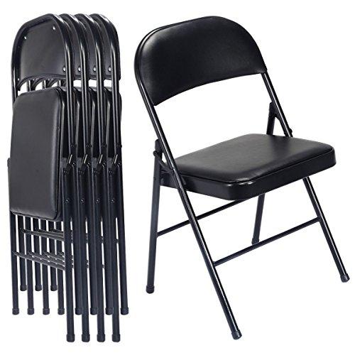Giantex Set of 4 Black Folding Chairs Steel PU Portable Home