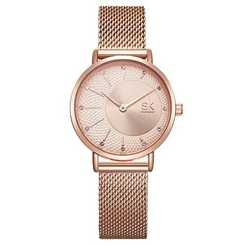 Women Stainless Steel Band Watches Ladies Quartz Wristwatches Waterproof Unique Design Mesh Bracelet Watch 0093 RG Rose Gold