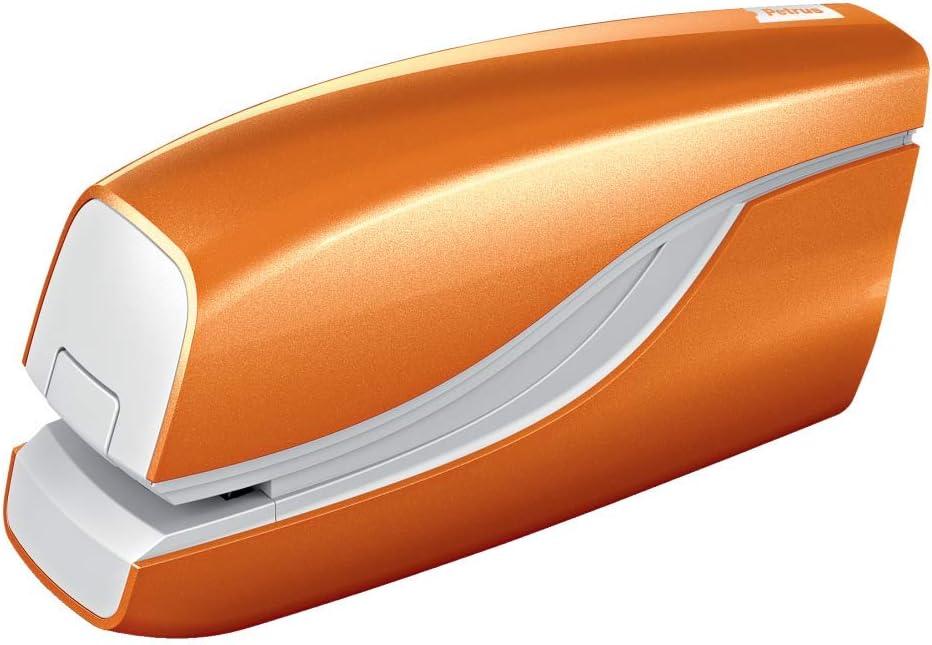 PETRUS 624823 - Grapadora eléctrica modelo E-310 (Alimentación 4 pilas 1,5V no incluidas) color naranja metalizado