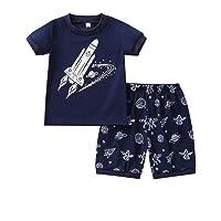 Weixinbuy Baby Boy's Short Sleeve Crewneck Graphic Cotton Pajama Set T-Shirt Clothes 2 Pcs Summer Sleepwear