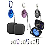 Emergency Personal Alarm 130dB Loud Bag Keychain Portable Security Device Siren Outdoor Protection Safe Sound Led Mini Carrying Case Pouch for Women Girl Elderly Kid 3 Pack Black Blue Purple Gift
