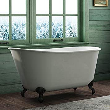 58 Cast Iron Swedish Tub with NO Faucet Holes /& Brushed Nickel Feet-Holt