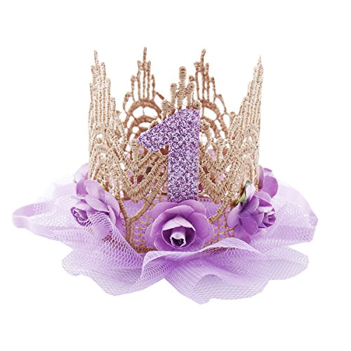 June Bloomy Baby Golden Lace Rose Flower Crown 1st Birthday Headband Princess Tiara -
