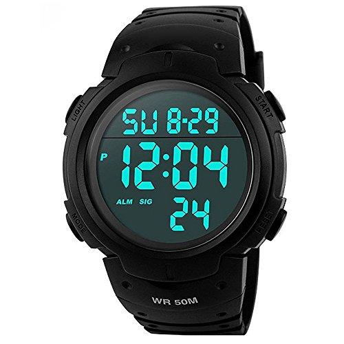 FunkyTop Mens Digital Sport Watch Military Waterproof LED...