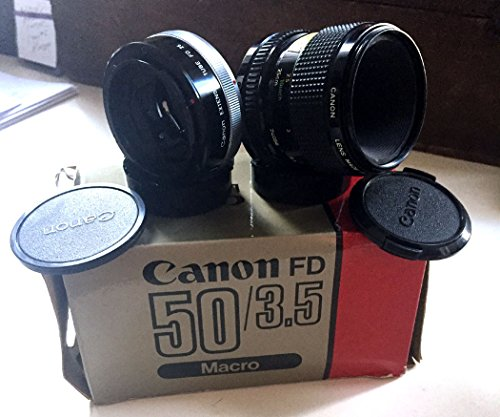 (CANON 50MM F3.5 FD MACRO LENS W/ EXTENSION TUBE FD 25 IN ORIG.)