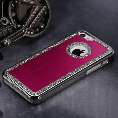 Nice Sturdy Iphone 5C Deluxe Red brushed aluminum diamond case bling cover for iphone 5C