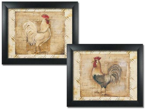 (wallsthatspeak 2 Framed Rustic Rooster Art Prints Country Kitchen Farm Home Decor 8x10)