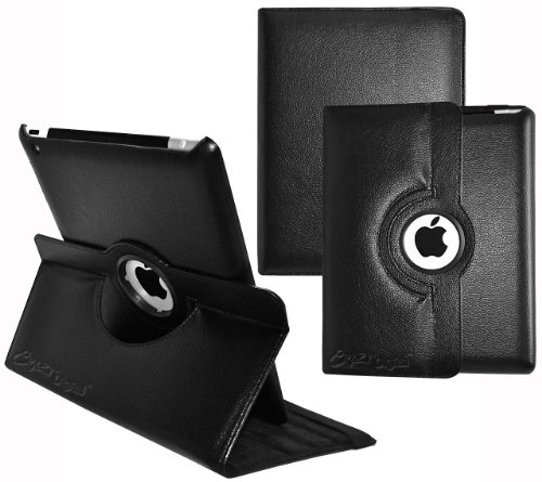 Ionic Rotating Stand Leather Case with SLEEP AND WAKE Function For Apple iPad 2, iPad 3, iPad 4, iPad 2nd, iPad 3rd, iPad 4th Generation Tablet AT&T Verizon 4G LTE (Black)