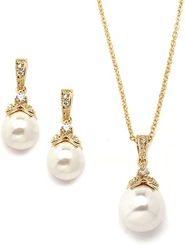 Mariell Ivory Pearl Drop Necklace Set With Vintage Cz 14k Gold