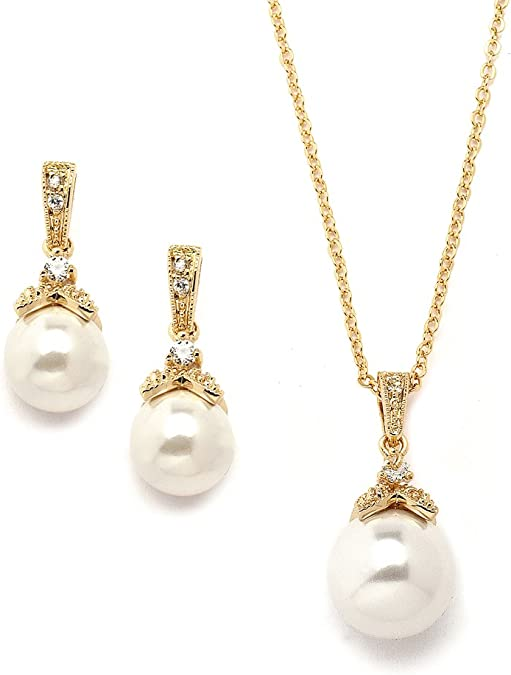 Pearl Necklace and Earrings Set Bridesmaid Jewelry Set Pearl Pendant Drop Bridal Necklace and Earring Set Pearl Statement Necklace