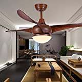 ZPSPZ Ceiling fan Antique Living Room Fan Light Modern Electric Fan With Le
