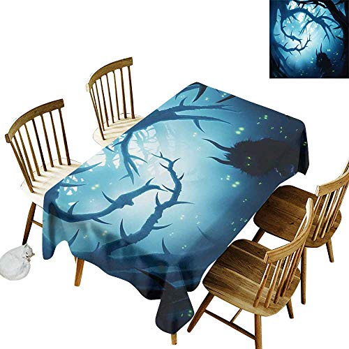 Cranekey Living Room Rectangular Tablecloth W54 x L90 Mystic Decor Animal with Burning Eyes in Dark Forest at Night Horror Halloween Illustration Navy White -