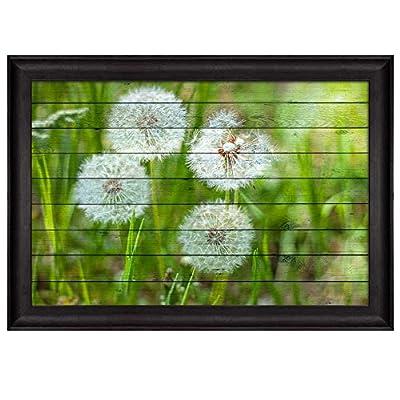 Quality Artwork, Delightful Creative Design, Dandelions on a Field Over Wood Panels Nature Framed Art