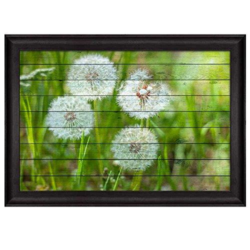 Dandelions on a Field Over Wood Panels Nature Framed Art