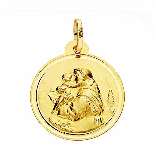 Médaille pendentif San Antonio de l'or 22mm 18k. lunette lisse [AA2578]