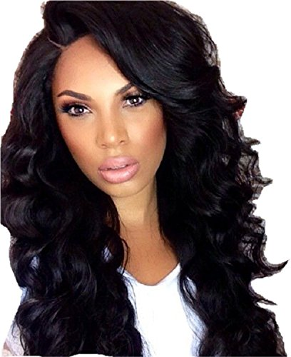 Ninety-Style 20'' Long Curly Wave Cosplay Wigs for Black Women Jet Black Full Head Synthetic Hair Wig with Wig Cap 10 Oz (Black) by Ninety-Style