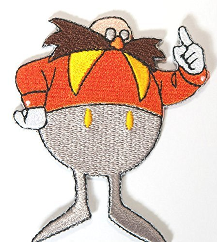 Dr Eggman Sonic the Hedgehog Patch Embroidered Iron on Badge Sega Retro Gamer Costume Applique Motif Bag Hat T-Shirt Dr Egg