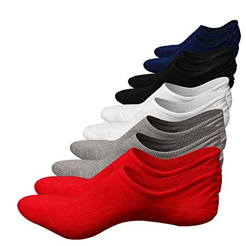 Cotton No Show Socks,Funcat Men Women No Slip Boat Shoe Liner Sneaker Invisible Athletic Sports Casual Low Cut Socks,5 Pairs