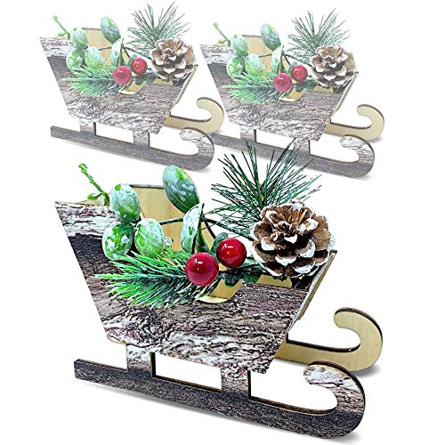 BANBERRY DESIGNS Woodsy Christmas Sleigh Decorations - Set of 3 Mini Sleighs with Pinecones and Berries - Natural Brown (Woodsy Decor Christmas)