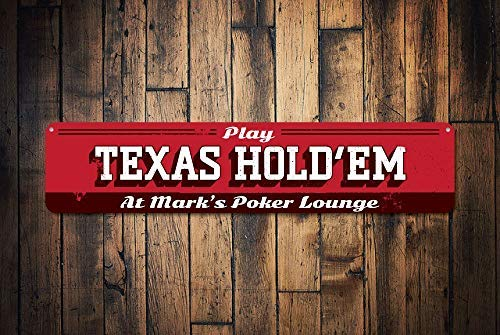 (HarrodxBOX Texas Hold'em Sign Personalized Poker Lounge Sign Custom Play Game Sign Metal Name Man Cave Game Room Decor Novelty Aluminum Metal Tin Sign Post Wall Decoration for Men)